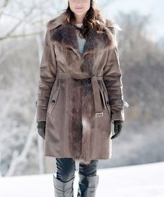 Taupe Faux Fox Fur-Trim Trench Coat - Plus Too #zulily #zulilyfinds