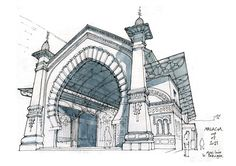 Malaga avec Luis. Urban Architectural Drawings from your Teacher. To see more art and information about Gérard Michel click the image.