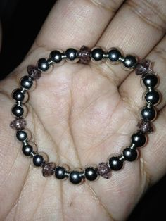 Black and Silver Bead Bracelet