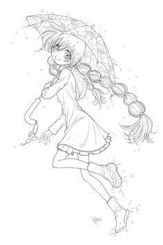 umbrella girl... lineart by sureya on DeviantArt
