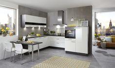 Culineo Einbauküche in U-Form | Lackoberflächen Weiß Hochglanz & Korpus Kunststoffoberfläche Graphit #küche #kitchen