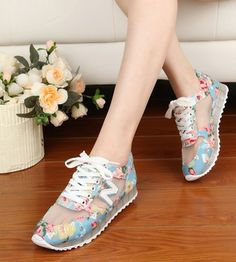 2014 New Summer Floral Print Women Canvas Shoes Korean Female Girl leisure breathable Canvas Sneaker Free Shipping
