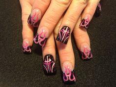 Pinstripes and flames by Oli123 - Nail Art Gallery nailartgallery.nailsmag.com by Nails Magazine www.nailsmag.com #nailart