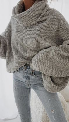 9af92d796a oversized turtleneck sweater + levis skinny jeans outfit for women