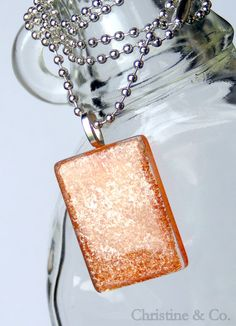 Brown Marbled Paint Glass Pendant/ Handbag by ChristineandCodesign, $22.00