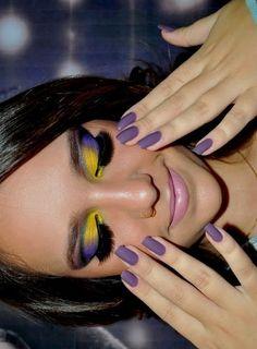 wow it looks cool Purple Makeup, Purple Nails, Bright Makeup, Gray Nails, Matte Nails, Beauty Make Up, Hair Beauty, Beauty Bar, Brilliant Brunette