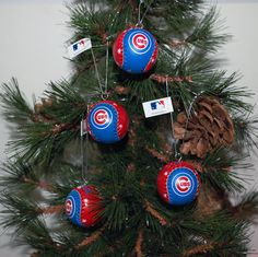 "Support your favorite team this Holiday Season with these Chicago Cubs baseball ornaments.  GO CUBS!  Set of 4. Each ornaments is 1.5"", leather, with stitching .....Just like the real thing!!  Give as a gift to that Cubs fan you know and love...to help with the sadness about this years outcome!"