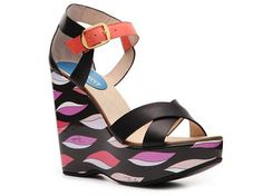 Emilio Pucci Leather Printed Wedge Sandal Women's Clearance Women's by Category Luxe810 - DSW