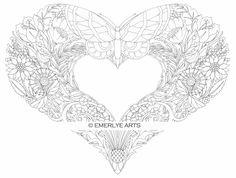 Butterfly heart color sheet