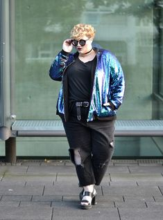 Dressing Outside The Box: the sequin bomber part 1 // kid Butch Fashion, Fat Fashion, Queer Fashion, Androgynous Fashion, Curvy Fashion, Plus Size Fashion, Girl Fashion, Fashion Outfits, Androgynous Girls