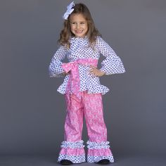 85f2377bc5d Navy Dot Pink Medallion Ruffle Pant Set WITHOUT sash.