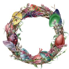 Watercolor tree wreath with easter feather. Hand painted border with willow, tulip and tree branch with leaves isolated on white background. Easter floral illustration for design, print or background. Typography Design Layout, Floral Illustrations, Holidays And Events, Tree Branches, Easter Eggs, Decoupage, Christmas Crafts, Floral Wreath, Hand Painted