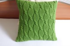 Green knitted pillow cover chartreuse cable knit by Adorablewares