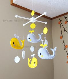 Yellow and Grey Whales Mobile - Baby Mobile - Decorative Nursery mobile - Baby Crib Mobile (Choose Your Felt Color)