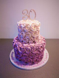 purple rose ombre two tier cake #GlitterCake