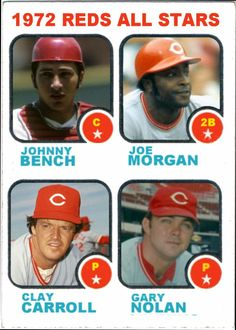 1973 Topps Cincinnati Reds All Stars, Johnny Bench, Joe Morgan, Clay Carroll, Gary Nolan, Baseball Cards That Never Were.