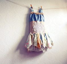 Children's Clothing Shabby Chic Dress 6 7 Blue Upcycled Fairy Clothes Tattered Lace Eco Friendly 'EMILIE'. $64.00, via Etsy.