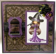 Charmed Stamping: Tiddly Inks Alison Halloween handmade card witch