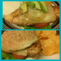Chicken club burger without the swine (bacon) lol