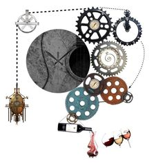"""""""Steampunk Happy Hour Machine"""" by ericrasmussen ❤ liked on Polyvore featuring art"""