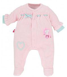 PYJAMA VELOURS ROSE PASTEL - Pyjamas, dors-bien, grenouilleres - VETEMENTS : Bébé – Sucre d'Orge