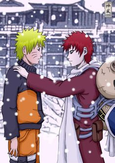Gaara and Naruto. I love their friendship. Naruto saved Gaara from his own darkness, and Gaara will never forget it