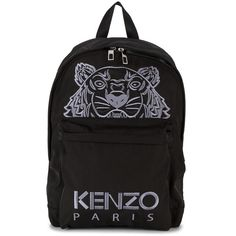 Kenzo Tiger head backpack (280 AUD) ❤ liked on Polyvore featuring bags, backpacks, black, rucksack bag, cotton bags, kenzo bag, unisex bags and knapsack bag