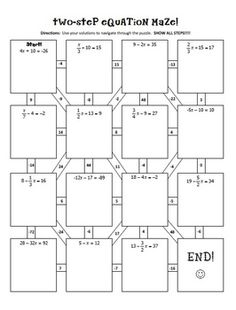 Worksheets Multi Operational Mathematical Maze pythagorean theorem maze from amazing mathematics on two step equations notes activity
