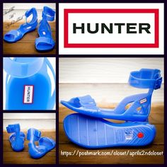 "HUNTER Original Ankle Strap Sandal NEW WITH TAGS RETAIL PRICE: $125  Hunter Original Sandals   * Single front strap.  * Adjustable ankle buckle strap closure.   * Rubber 'jelly' flexible soles & straps.   * Water resistant.   * Open toe style.  * Will approx. fit sizes 6-6.5""  ***Whole sizes only; if you typically wear a 1/2 size, order next size down.  Fabric: PVC  Color: Blue Lily Item:   No Trades ✅ Offers Considered*✅ *Please use the blue 'offer' button to submit an offer. Hunter Boots…"