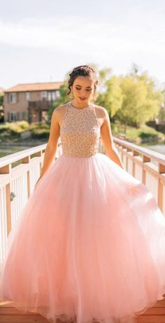 Charming Ball Gown Beading Long Blush Pink Tulle Prom Dresses OK987 #pink #tulle #aline #long #prom #okdresses