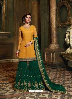 Yellow And Green Satin Georgette Heavy Embroidered Sharara Salwar Suit Eid Dresses, Indian Dresses, Sharara Suit, Salwar Kameez, Kurti, Kurta Designs Women, Designer Salwar Suits, Embroidery Suits, Yellow Fabric