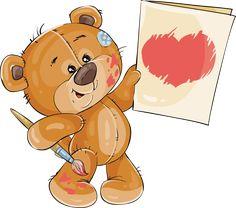Cartoon Elephant, Bear Cartoon, Cute Cartoon, Brown Teddy Bear, Cute Teddy Bears, Bear Face Drawing, Urso Bear, Watercolor Card, Animal Nail Designs
