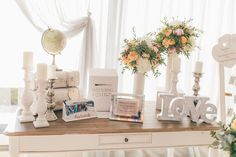 Gifts table. Santorini Weddings, Wedding venue, Wedding ceremony and reception, Sunset view.