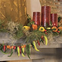 A Cajun Christmas | Spiced Up Mantel | SouthernLiving.com   I like how it says to use gloves while making up your christmas mantle lol