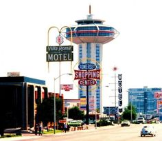Las Vegas Paradise Road and the Landmark Casino - 1950s & 1960s old photo.