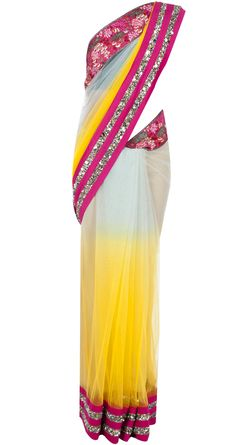 Embroidered blue and yellow sari by VARUN BAHL. http://www.perniaspopupshop.com/designers-1/varun-bahl