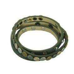 Mode :: Armbanden :: Wikkelarmband met studs Donker Groen (4010) -