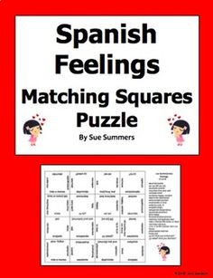 Spanish Feelings Vocabulary Matching Squares 4 x 4 Puzzle and Bookmark by Sue Summers Spanish English, Spanish Words, Challenging Puzzles, Feelings Words, Spanish Vocabulary, Learning Spanish, Squares, How To Become, Teacher
