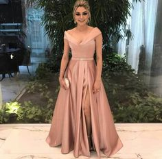 v neck bridesmaid dress,champagne bridesmaid dress,long formal dress,satin prom gowns,sexy prom dresses A Line Evening Dress, Evening Party Gowns, Evening Dresses, Prom Dresses, Formal Dresses, Dress Prom, Dress Long, Club Dresses, Cheap Dresses