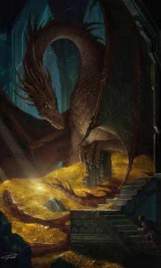 "spassundspiele:  ""The Hobbit: Smaug and Bilbo – fantasy art by Yuming Yin  ""  Beautiful!"