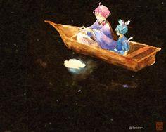 #細川組版深夜の真剣お絵描き60分一本勝負  お題:水遊び ほら、月をつかまえた  ID忘れてましたすみません…