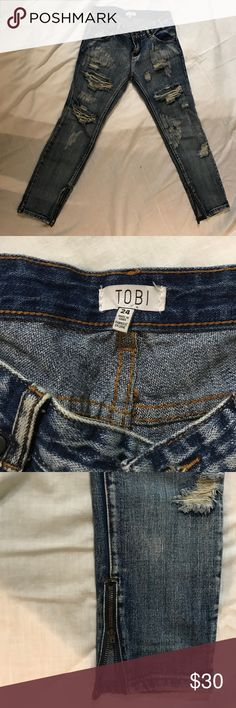 TOBI ripped boyfriend jeans size 24 These trendy slim fitting boyfriend jeans are awesome. They're barely worn and are great for going out or kicking back. Tobi Jeans Boyfriend