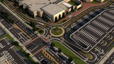Mall Roundabout (Minecraft) by HighwayNerdist Minecraft Modern City, Minecraft Skyscraper, Minecraft Shops, Minecraft Building Guide, Minecraft City Buildings, Minecraft Houses Blueprints, Minecraft Plans, Minecraft House Designs, Amazing Minecraft