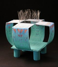 Jeanette Ahlgren, 'Water Temple' -loomwoven wire and seed bead vessel