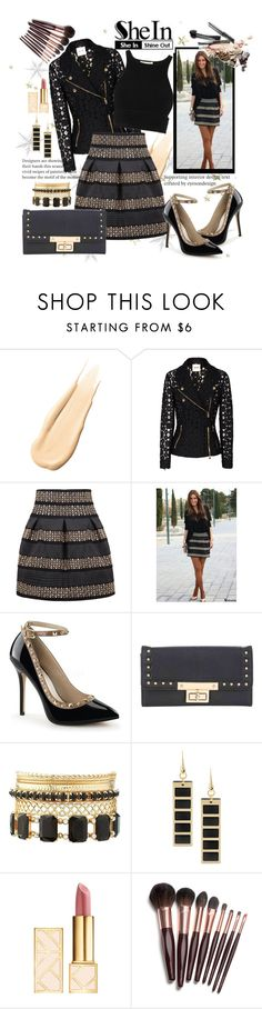 """Sheinside: Black High Waist Skirt"" by ina-kis ❤ liked on Polyvore featuring Hourglass Cosmetics, Moschino Cheap & Chic, Miss Selfridge, Charlotte Russe, 8, Tory Burch and Charlotte Tilbury"