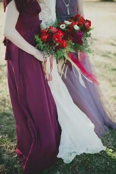 Wedding Bouquets -- Rich Reds -- Bridesmaids Dresses: BHLDN. See more wedding inspiration here: http://www.StyleMePretty.com/2014/04/11/romantic-art-inspired-wedding-shoot/ #smp -- Photography: Sarah McKenzie Photography - www.sarahmckenziephoto.com -- Floral Design: Tamara Menges Designs - http://tamaramenges.com/