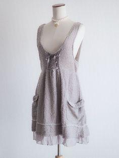 🌹axes femme🌹Lace-up Fluffy Bow Jumper Dress JSK Japan M Antique Lolita D009 #AxesFemme #JSKJumperdressPeplum #HarajukuLolitafashion
