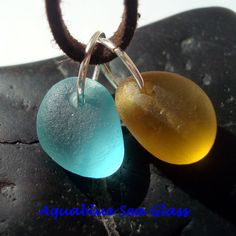 2 DRILLED English Sea Glass Charms MEDIUM  by aquablueseaglass, $11.99
