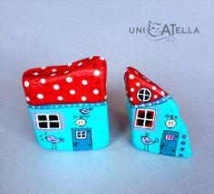 little houses by Unicatella, painted stones kamienie ręcznie malowane by Unicatella,
