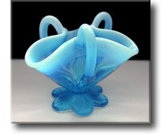 Blue Pearline Glass Basket - Davidson - c.1891
